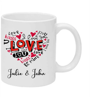 Love Valentines Mug, Personalised Gift