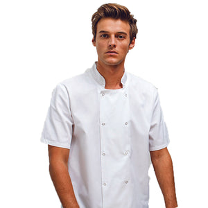 Studded Front Short Sleeve Chef Jacket