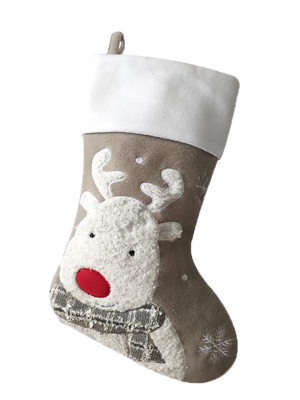 Deluxe Silver Fluffy Christmas Stockings