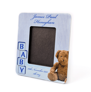 Blue Personalised Baby Photo Frame with Name and Date