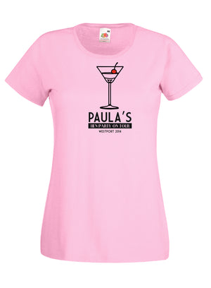 Cocktail Glass Hen Night T-Shirt, Personalised Gift