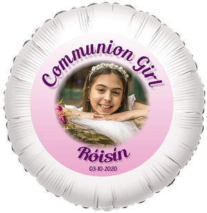 Communion Girl Photo Balloon, Personalised Gift