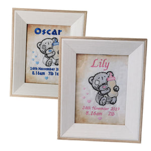 Embroidered Baby Frames, Personalised Gift