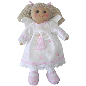 These beautiful Rag dolls make a wonderful gift and keepsake. size 40cm. 100% cotton outer, hollow fibre filling. Suitable for all ages.