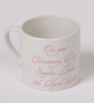 This baby mug has just 6oz capacity and is great for a baby keepsake.Comes in a gift box