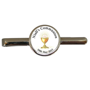 Boys! so difficult to buy for, how about this special Communion tie clip. Just type the childs name and communion date into the template on the next page and we will take care of the rest. This Communion tie clip comes in a smart black presentation box