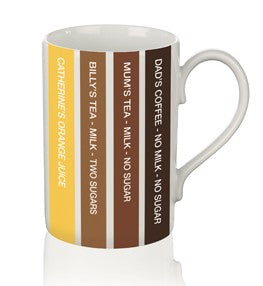 Our 11oz, boxed porcelain mug is narrower than the standard mug.