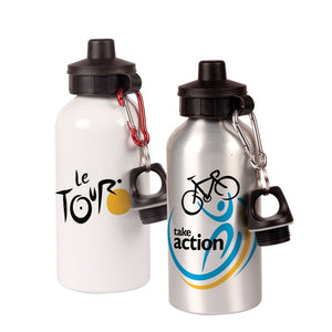 Our aluminium water bottles are ready for personalising. Available in white and silver with 2 caps included. Available in 600ml