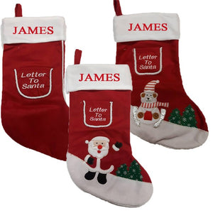 Personalise these fantastic Christmas stockings with your childs name.