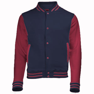 This varsity jacket is made from 80% cotton/ 20% polyester.This jacket has press-stud closure with contrast studs, Knitted collar, cuffs and waistband with stripe detail.Contrast sleeves.Taped back neck.Hanging loop at back of neck.Two welt pockets.Small opening in pocket for ear cord feed.Hidden ear phone loops.WRAP Certified Production.Weight: 330 gsm