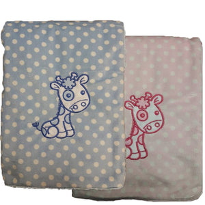 This soft polka dot blanket has a fluffy back for extra warmth  Just add baby name and date for a beautiful gift.