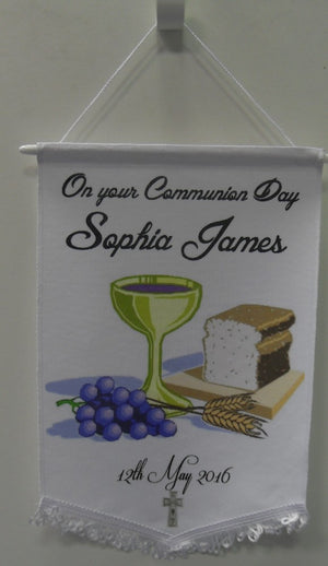 This Communion Pennant makes an ideal keepsake. You may upload your own image and add text to create your own. If you do not upload an image we will use the one shown in the photo.