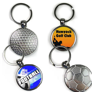 Our silver keyrings have space for a photo/image on one side with a durable metal finish on the other with either a golf or football design which are ideal for printing company logos, clubs and personal images.