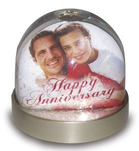 Unique and fun way to display photos & messages in this lovely snow globe.Takes 2 pictures
