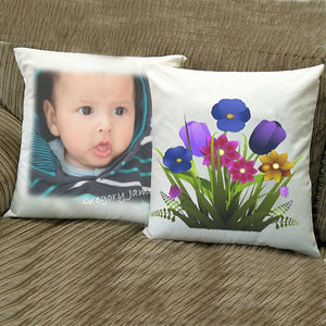 This white subli cushion is perfect for adding photos and text, whether is a new born baby, a christening or favorite pet this cushion is sure to please. 35cmx35cm. It comes with filler.