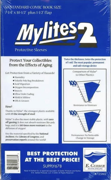 50 MyLites 2 Comic Bags - Standard Size Mylar