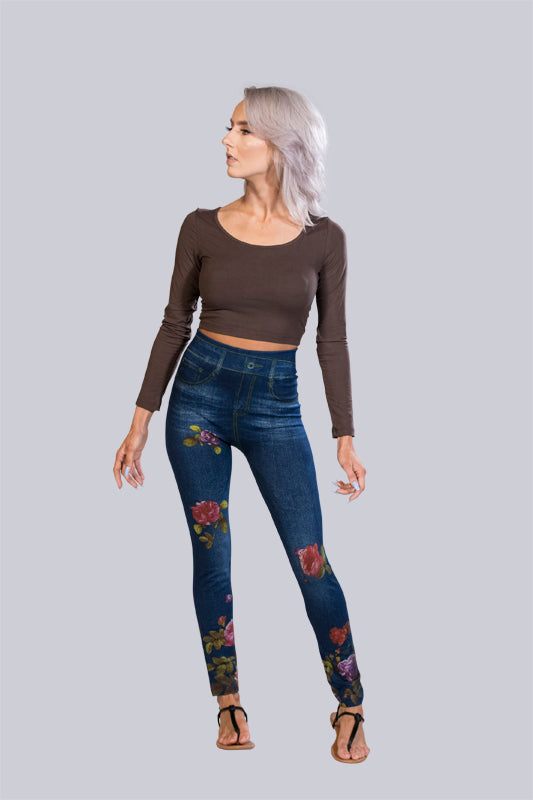 Rose Print Graphic Leggings - BohAwesome
