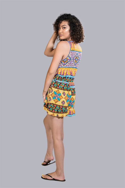 "Yellow Abstract Print ""Noise Maker"" Romper"