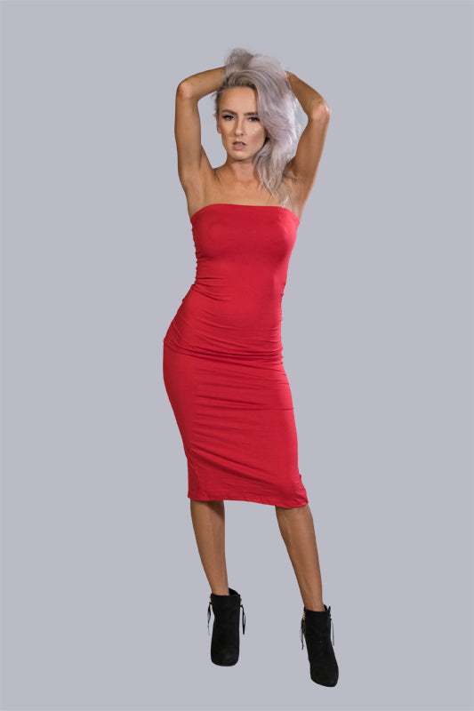 Leigh Bandeau Midi in Red - BohAwesome