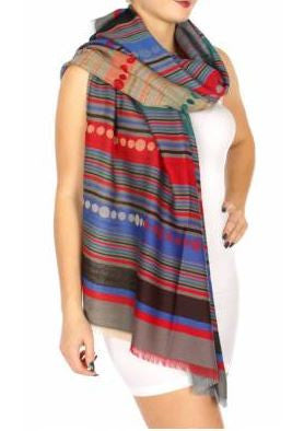 Blue Multi-color Stripe Pashmina Shawl - BohAwesome