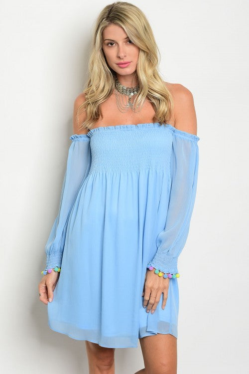 Breezy off shoulder tunic top-light blue
