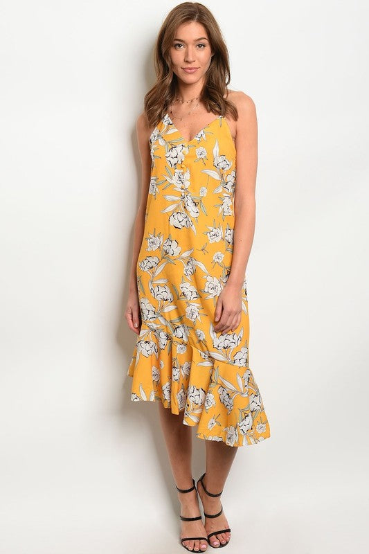 Elena Asymmetrical Flirty Floral Dress - BohAwesome