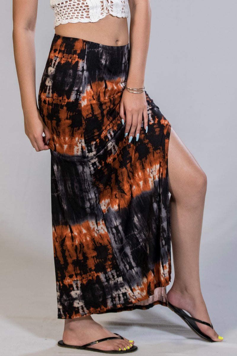 Fire Tie Dye Maxi Skirt - BohAwesome