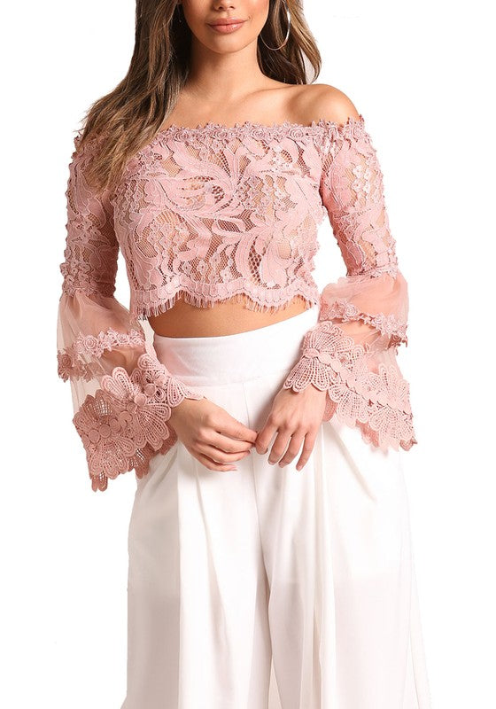 Lovely Lace Bell Sleeve Crop - BohAwesome