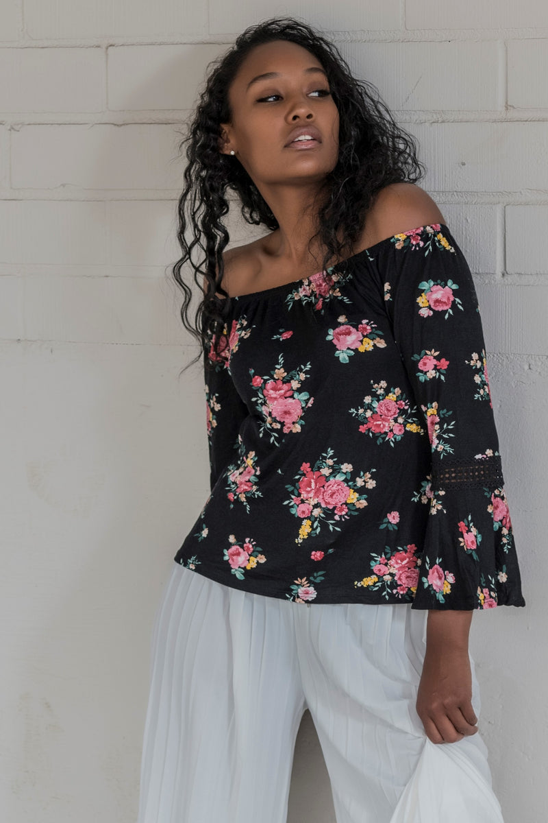Floral Long Sleeve Off Shoulder Blouse - BohAwesome
