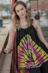 Black Tie Dye Sleeveless Batik Tunic - BohAwesome