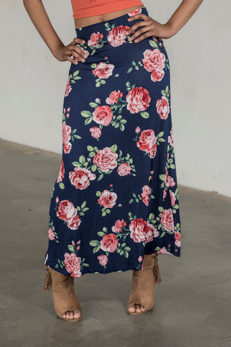 Blue Floral Print Maxi - BohAwesome