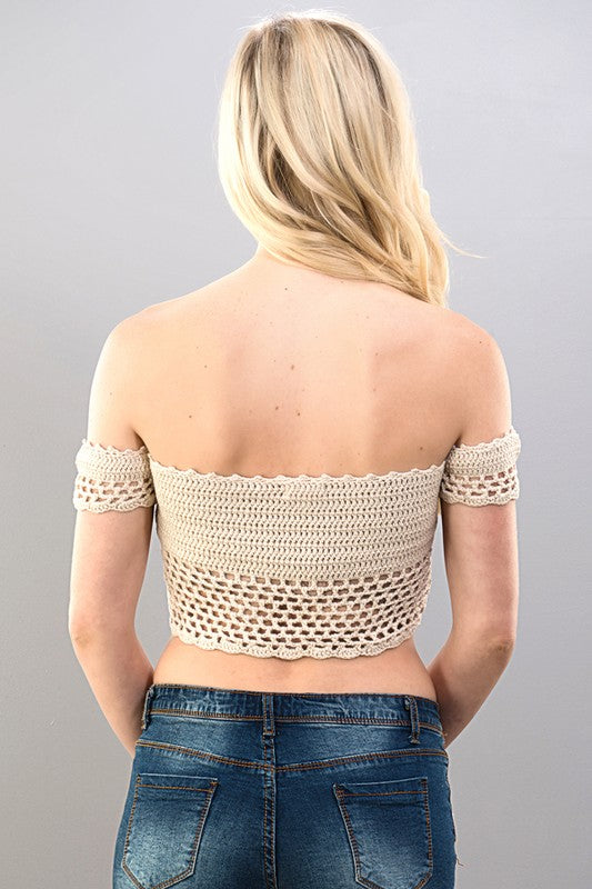 See through Crochet Lace Up Top