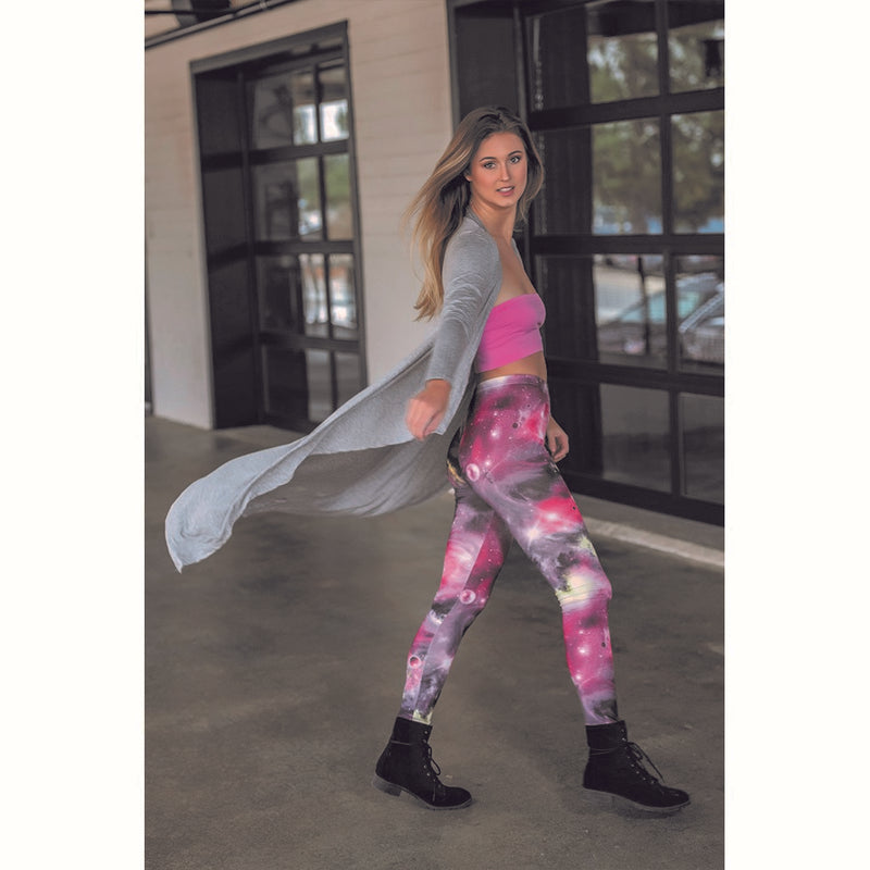 Pink Galaxy Print Graphic Leggings