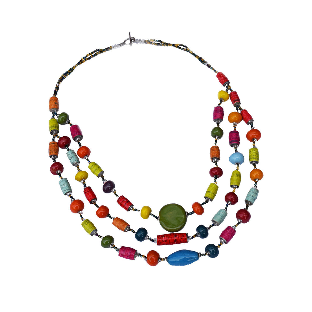 We All Rise Triple Rainbow Necklace