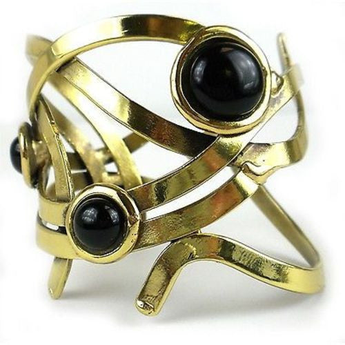 Dancing Onyx Brass Cuff Handmade and Fair Trade