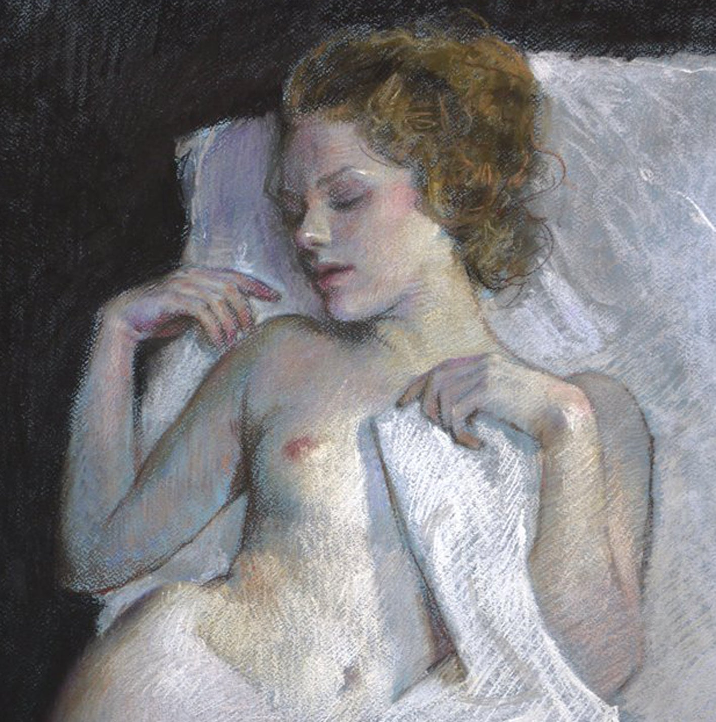 Nigel-Mason-pastel-sleeping-woman