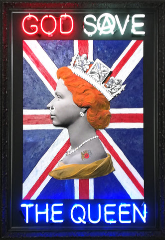 God Save the Queen Illuminati Neon