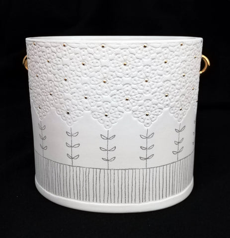Patterned Pot with Gold Handles