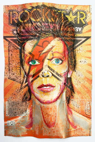 Chris Duncan Signed Original Mixed Media upcycled Rockstar can Framed in white