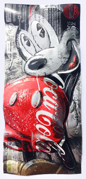 Chris Duncan Signed Original Mixed Media upcycled Zero Sugar Coke can Framed in white