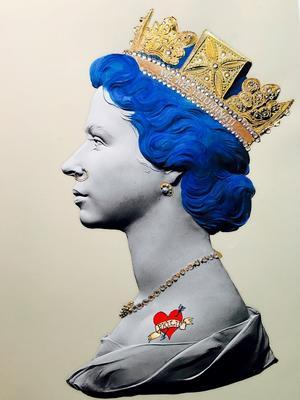 Baby Blue Queen Signed limited edition hand finished print Giclée with 24 ct gold leaf and crystal embellishments. Sight: 42 x 31cm Mount: 74 x 49cm Frame: 85 x 59cm