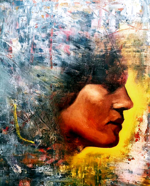 Painting of a beautiful woman by Suman Kaur