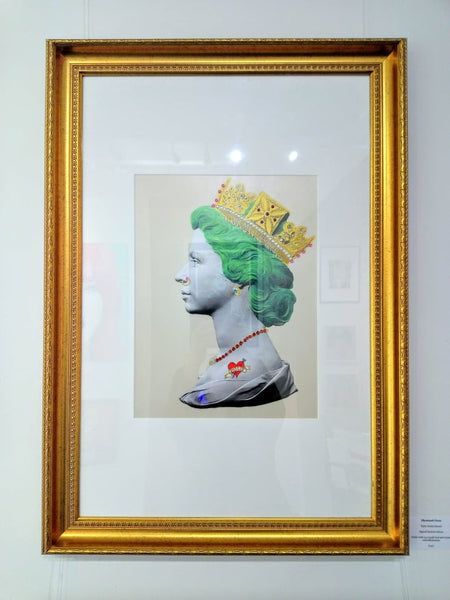 Baby Green Queen Illuminati Neon Signed limited edition Giclée with 24 ct gold leaf and crystal embellishments. Sight: 42 x 31cm Mount: 74 x 49cm Frame (gold): 87 x 62cm