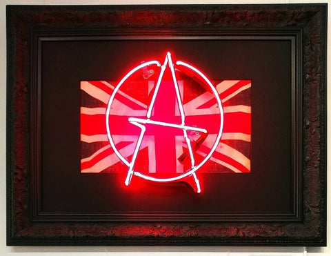 Illuminati Neon Signed Original Unique original WW2 flag, hand blown neon 52 x 69 cm