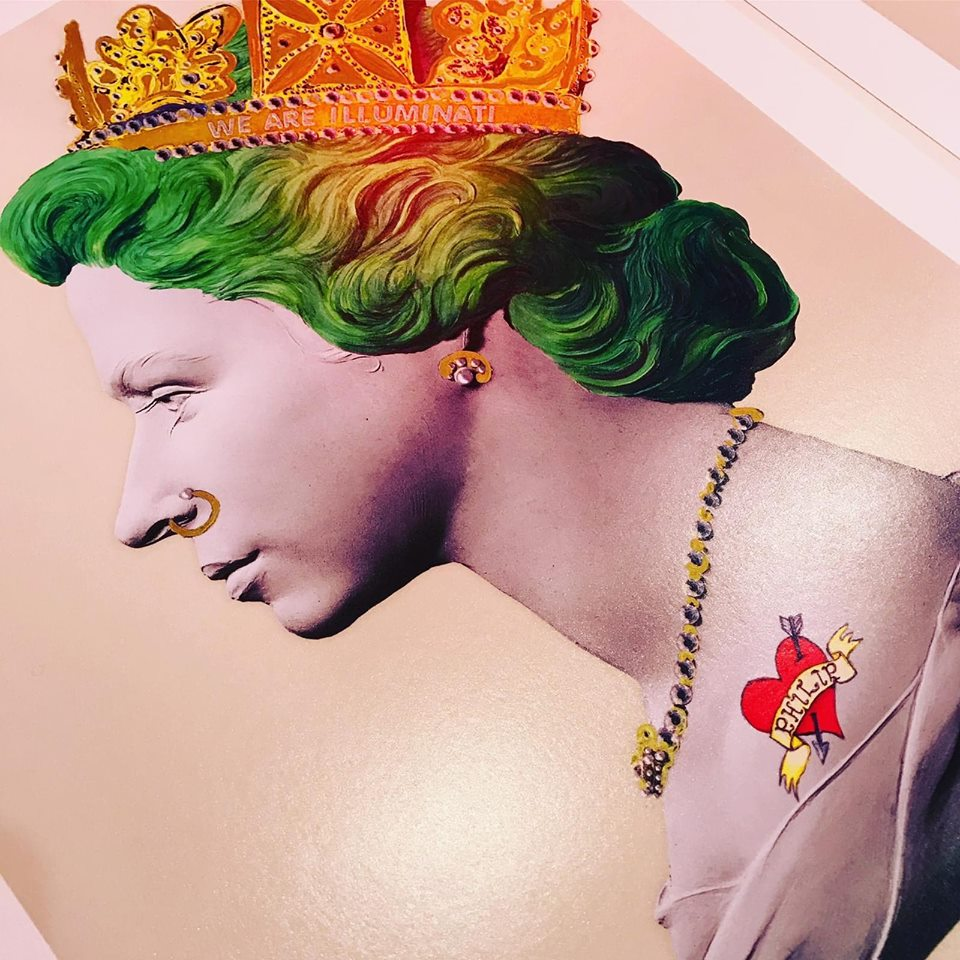 Green Punk Queen Signed limited edition hand finished print Giclée with 24 ct gold leaf and crystal embellishments. Sight: 80 x 59cm Frame: 103 x 82cm