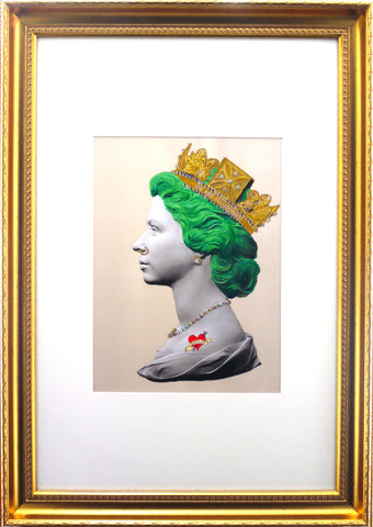 Baby Green Queen Illuminati Neon Signed limited edition Giclée with 24 ct gold leaf and crystal embelishments 87 x 62cmnd crystal embelishments 87 x 62cm