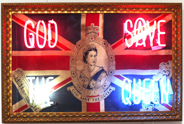 God Save the Queen Illuminati Neon Hand Blown Neon Vintage Coronation Flag Framed in Gold 64 x 96cm