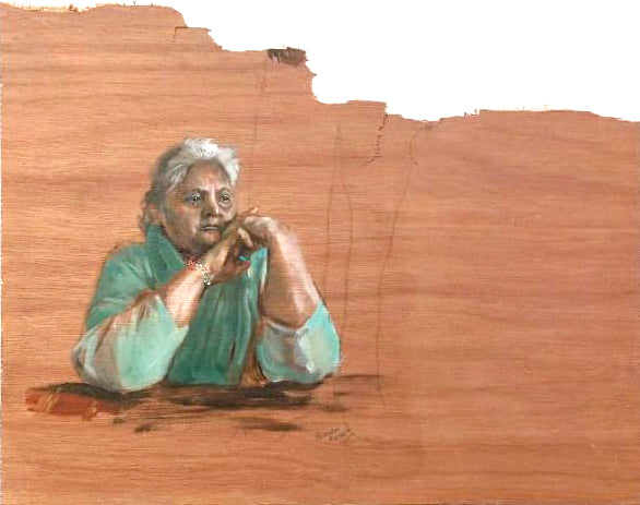 Painting of woman on rough wood by suman kaur