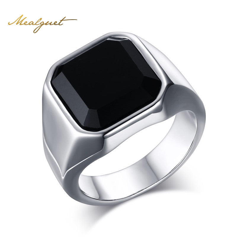 Black Stone Ring For Man Stainless Steel Man\'s Vintage Punk Black ...