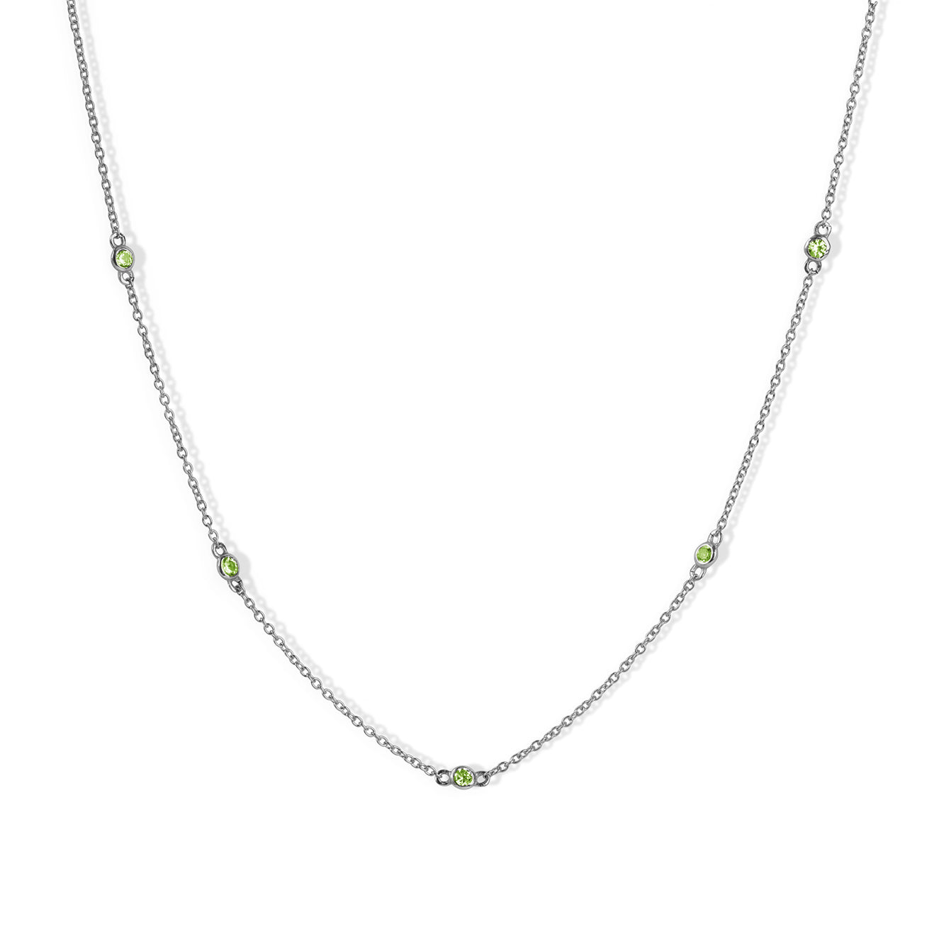 The Peridot Stoned Choker in Silver-Necklace-Black Betty Design
